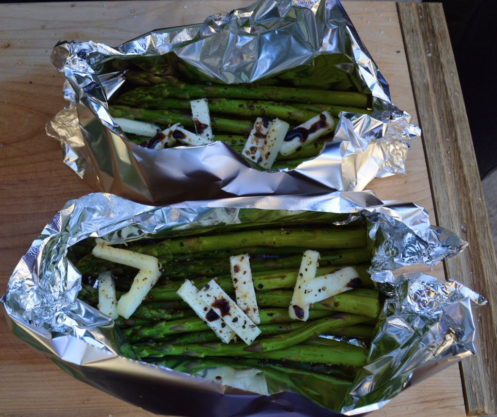 You gotta' have veggies. I have a couple of tricks to make my vegetables pop. Number 1 is butter and Number 2 is balsamic vinegar. I added both to this asparagus and grilled it in foil. It came out with a delicious buttery glaze.